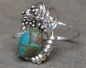 "SALE  Size 6 /// Sterling Turquoise Ring - ""The Four Corners of the Ocean"""