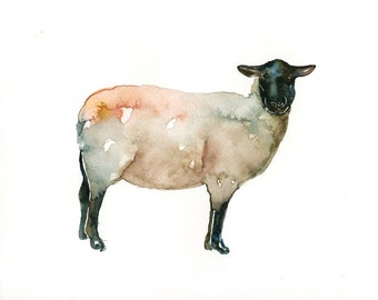 SHEEP original watercolor painting 8x10inch