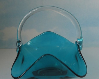 Vintage Turquoise Blue and Clear Glass Basket. Midcentury.