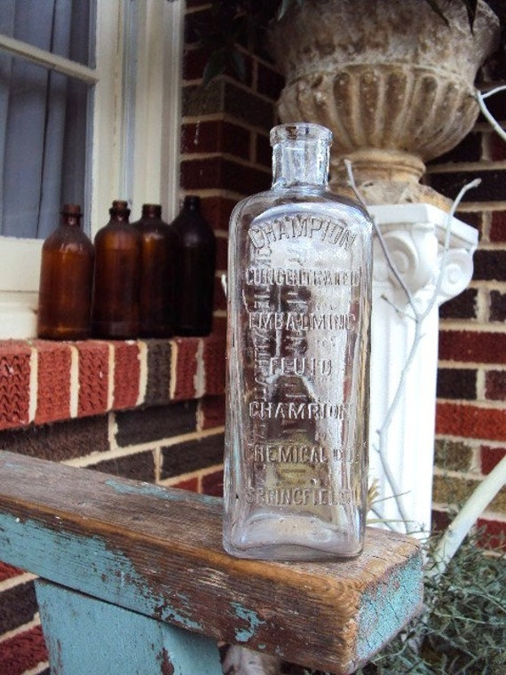 Antique Champion Embalming Fluid Bottle Apothecary Chemical