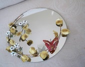 Vintage Home Decor Wall Hanging Mirror Round Mirror Metal Vine Decorated