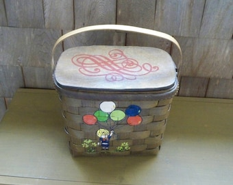 Vintage Home Decor Basket Hand Painted Child Playing Balloon Basket Purse Signed