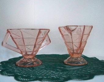 Vintage Serving Sugar and Creamer Set Pink Glass Mid Century Modern