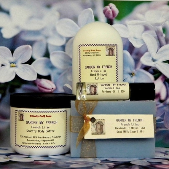 Lilac Soap Gift Set - GARDEN MY FRENCH - Handmade Bath Set - Soap & Lotion Set