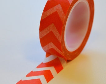 Washi Tape - 15mm Bright Tangerine Chevron - Deco Paper Tape No. 1000