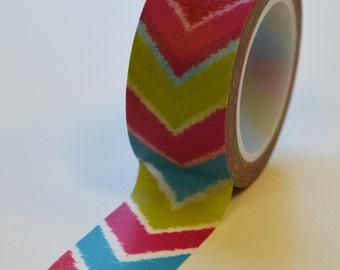 Washi Tape - 20mm - Ikat Inspired Chevron Multi Color - Deco Paper Tape No. 1015