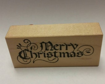 PSX Fancy Merry Christmas Rubber Stamp
