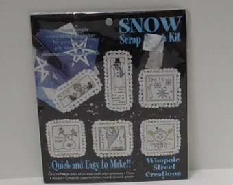 6 Snow and Snowmen Stitch TAGS Counted Cross Stitch Kit