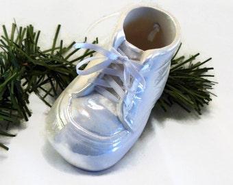 Ceramic Christmas Ornament - Baby Shoe Ornament - White Glaze