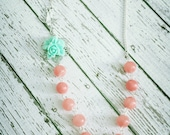 The Soaring Necklace...in pale aqua Blue and Apricot,  Beautiful for a rustic wedding,  FREE MATCHING EARRINGS