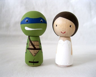 Teenage Mutant Ninja Turtle and his Bride, TMNT Kokeshi Doll Peg Doll Wedding cake Topper