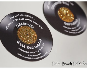 10 Rock and Roll 70's 80's Hip Hop Sock Hop Record Dance Music Invitations  by Palm Beach Polkadots