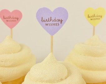 25 Mini Cupcake Toppers Birthday Wishes Food Picks Pastel