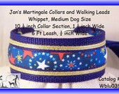 Jan's Martingales, Blue Collar and Leash Combination Walking Lead, Whippet, Medium Dog Size, wblu039