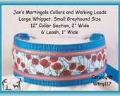 Jansmartigales Turquoise Large Whippet, Small Greyhound, Martingale Collar Leash Combination