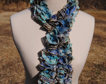 Light Blue, Blue, Navy, and Black Ruffle Scarf with Gold Accents, Blue Ruffle Scarf, Sashay Scarf, Ruffle Scarf