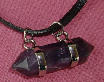 Enchanted Amethyst pendant necklace - Gorgeous! Double pointed Amethyst Gemstone, Chakra, black leather necklace, RedRobinArt