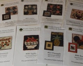 A Collection of 8 Everyday Punch Needle Punchneedle Patterns with Fabric Included