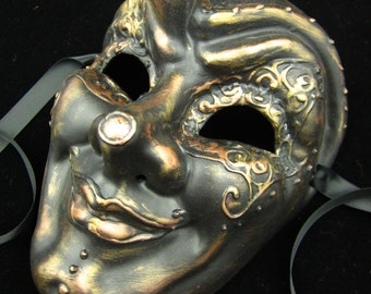Gearhead Mask, full faced joker style masquerade mask with various metal gildings