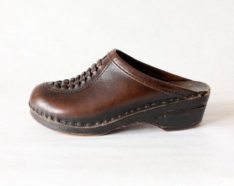 Vintage Bastad Brown Woven Leather & Wood Clogs, size 38