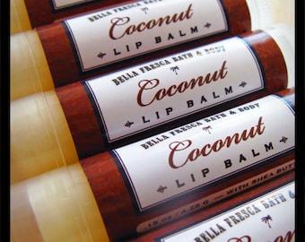 Coconut Lip Balm-- shea butter lip balm, lip butter for chapped lips -- Bath and Beauty -- Tropical Coconut Lip Balm -- Bella Fresca