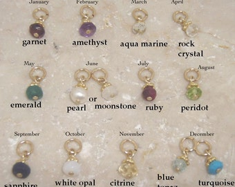 Tiny Birthstone charm - Genuine birthstone bead in gold - Birthstone add on charm - White opal crystal - Photo NOT actual size