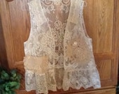 Shabby chic recycled lace and doily vest, Romantic, Boho, Prairie Girl, med to large size