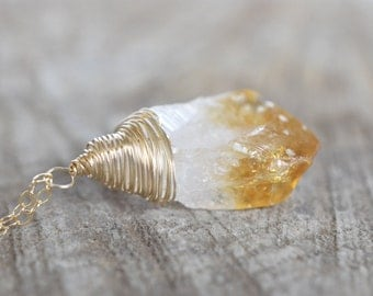 Raw Citrine Necklace, Rough Citrine and Gold Filled, Large Pendant, Honey Citrine Amber, Gold Filled, Unique Necklace