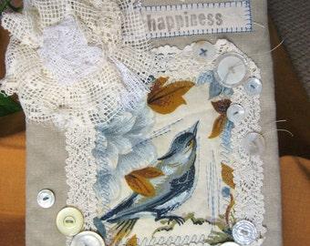 BLUEBIRD vtg linen fabric collage journal notebook blank book ephemera upcycle
