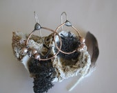 Hoop Earring Wrapped with Pearls and Sterling Silver Wire Handmade Hoop Circle Earring