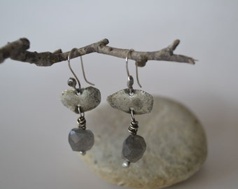 Sterling Silver Organic Style Earrings Labradorite Stone Hanging Earrings Simple Modern Jewelry
