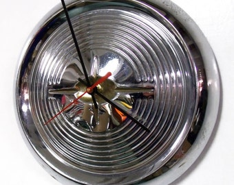1957 Oldsmobile Hubcap Clock - 1950's Classic Car Wall Decor - Olds Garage