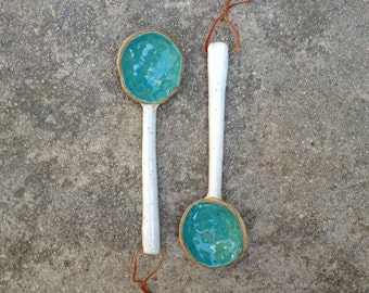 Ceramic Spoon, Pottery Spoon, Decorative Spoon, Hanging Spoon, Blue Spoon, Handmade Spoon, Stoneware Spoon, Kitchen Decor, Home Decor, Jclay