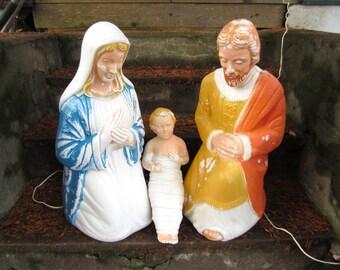 Vintage Nativity Blow Mold Figures Mary Joseph Baby Jesus