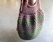 HipBag-Green&Brown....Cotton--accessories-Knitted bag-Chrsitmas gift-Suitable for day, evening--Gift under 50 USD