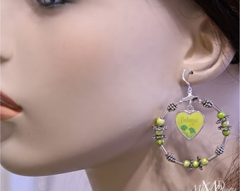 Silver Green Dangle Heart Patience Hoop Earrings