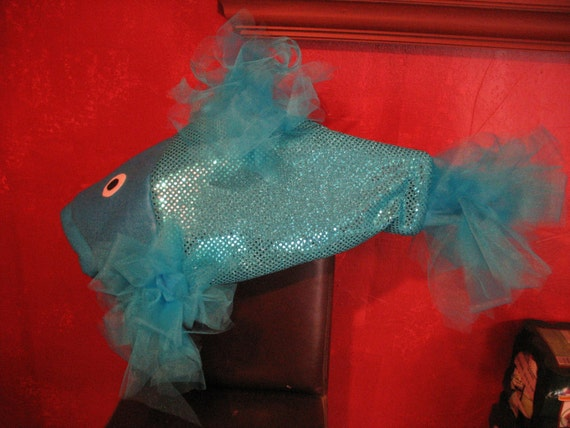 Turquoise beta fish costume one size fits all for Fish head costume