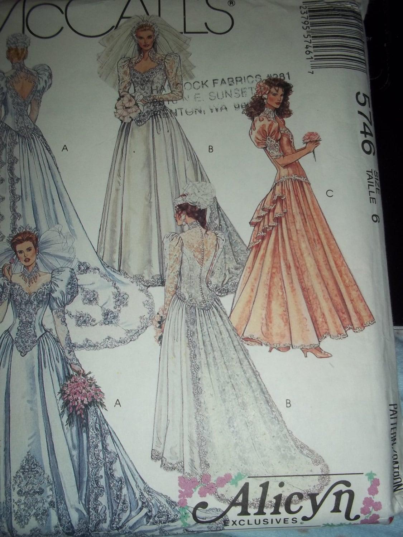 Mccalls 5746 wedding dress pattern bride gown by for Wedding dress patterns mccalls