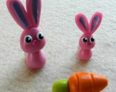 Mommy Bunny, Baby Bunny and a Carrot to share OOAK Polymer Clay