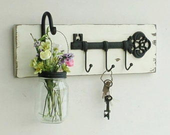 NEW...Rustic Cottage Key Shelf/Cast Iron Skeleton Key Hook/Hanging Mason Jar
