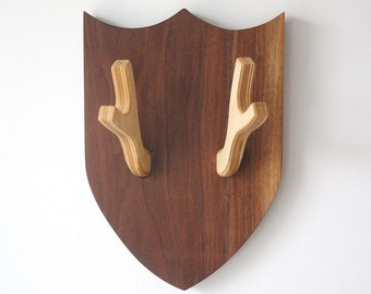 Walnut and Birch antler coat rack shield
