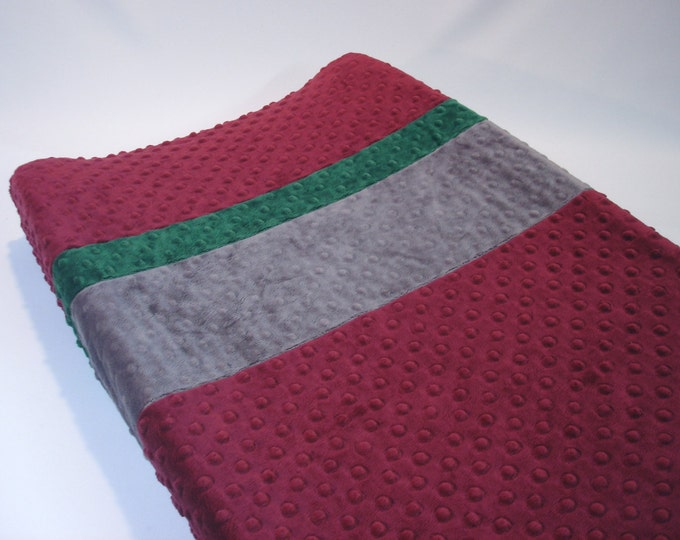 Raisin Red Changing Pad Cover with Stripes