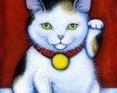 Tricolor Calico Maneki Neko.  Archival 8.5x11 tuxedo cat print