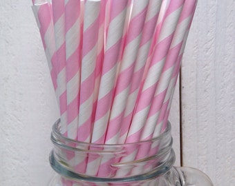 25 Soft Pink and White Striped Paper Straws
