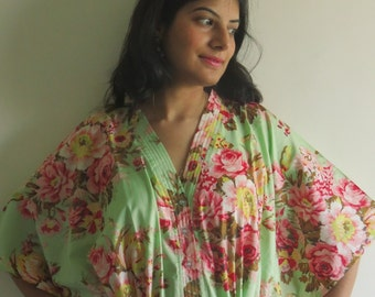 Light Green dream - Nursing Kaftan - Perfect as loungewear, as beachwear, gift for moms and to be moms and more