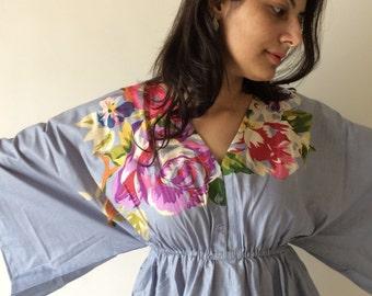 Gray Buttoned Butterfly Sleeves Empire Waist One Long Flower Kaftan Dress | Summer Dress, Long Maxi, loungewear, beachwear, Maternity Dress
