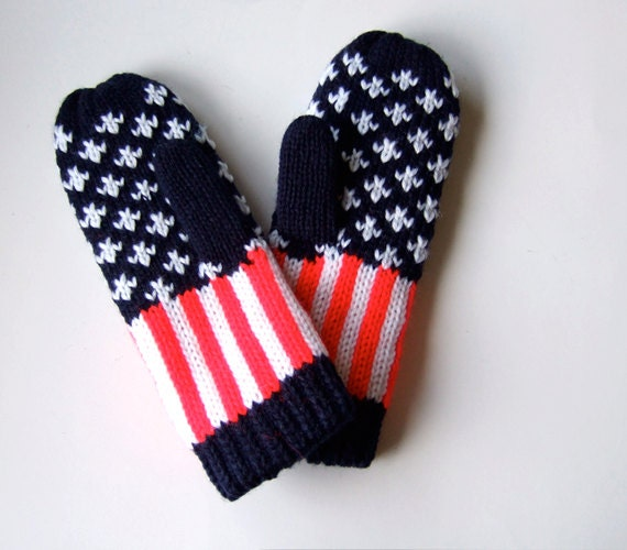 80s Red White Blue American Flag Knit Mittens Winter Fashion