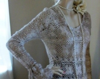 Lacey Crochet Sweater Top One of a Kind Size Med 8/10/12 Exec Cond Amazing Cuffs