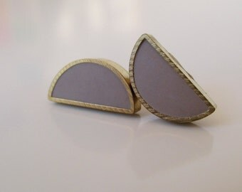 rhino gray brass half moon stud earrings