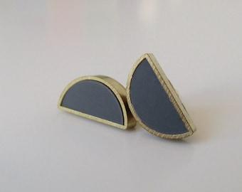 elephant gray brass half moon stud earrings